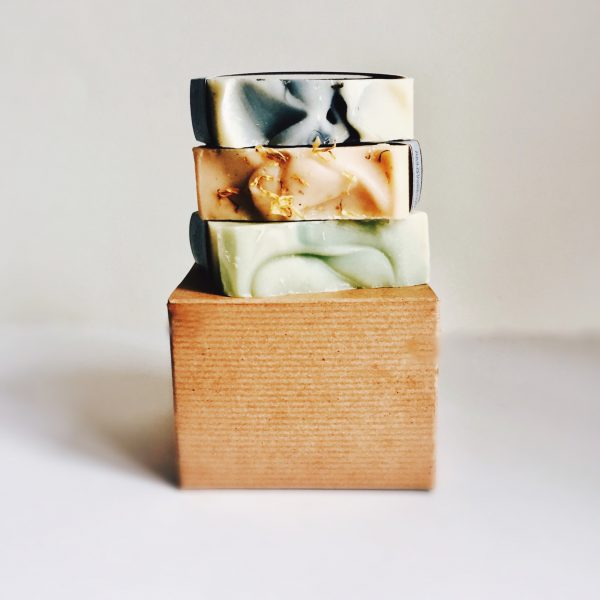 Three Handcrafted Soap Bar Kraft Box Gift Set